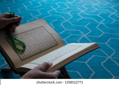 Istanbul / Turkey - April 3, 2019 ; Holy book Koran or quran in the mosque for Muslims holiday, Ramadan,blessed Friday message.