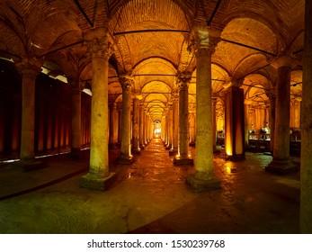 Istanbul, Turkey - APRIL 3, 2019: Basilica Cistern (Turkish: Yerebatan Sarayi - Sunken Palace) Underground cistern in Istanbul, Turkey, built by the Romans in the year 532.
