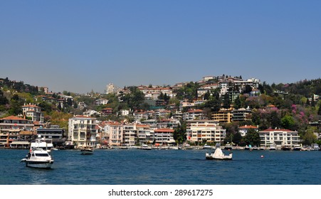 ISTANBUL, TURKEY - APRIL 30, 2015: A scenic view of Bosporus and a little fishing village Anadolu Kavagi which is situated on the Asian side of Istanbul