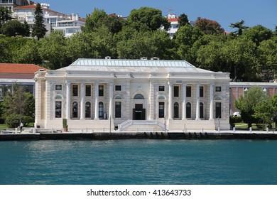 ISTANBUL, TURKEY - APRIL 30, 2016: Feriye Karakolu in Bosphorus Coast. Feriye Karakolu built in 19th Century and converted to restaurant in 1995.