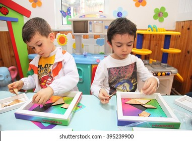 ISTANBUL, TURKEY - APRIL 4: Children learning intelligence games in kindergarten school on April 4, 2014 in Istanbul, Turkey.