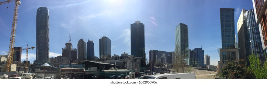 Istanbul, TURKEY - April 5th 2018 - Shot of high rise buildings and sky scrapers at Levent Maslak business center in Istanbul.