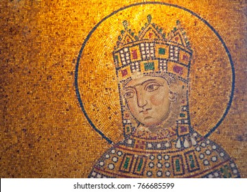 ISTANBUL, TURKEY - APRIL 6, 2007: Detail of antique Empress Zoe Mosaics from 11th century in Hagia Sophia in Istanbul, Turkey