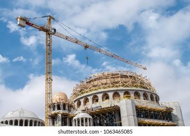 ISTANBUL, TURKEY - APRIL 7 2018 Construction of Taksim Mosque