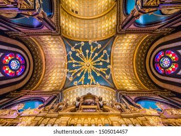 ISTANBUL, TURKEY - APRIL 7, 2019: Bulgarian St. Stephen Church (Iron Church) interior view. 120 years old Bulgarion Orthodox Iron Church in Golden Horn, Istanbul, Turkey.