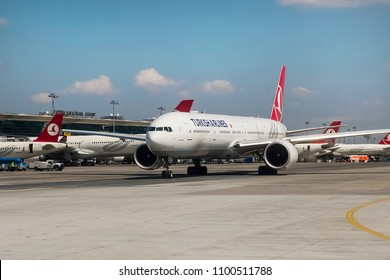 Istanbul, Turkey - April 8, 2015. A Turkish Airlines Boeing 777-300ER (TC-JJT) aircraft, taxes for take off at Istanbul Ataturk International Airport.