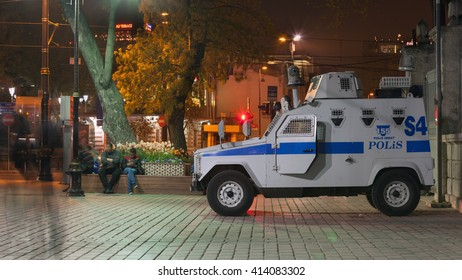 Istanbul, Turkey - April 9, 2016: Police armored vehicle on night street of Istanbul, Turkey. Photo taken with long exposure.