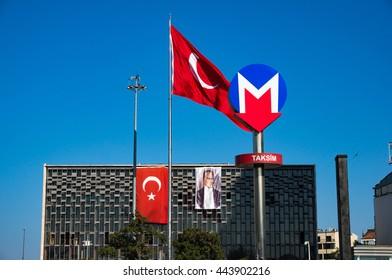 Istanbul, Turkey - Aug 28, 2013: Metro, underground sign at Taksim in Istanbul, Turkey