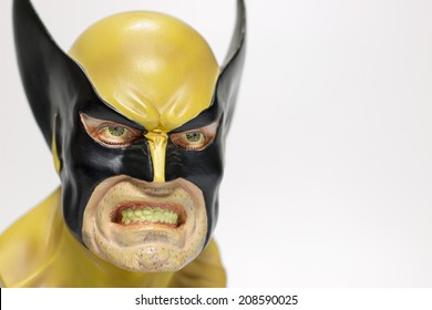 Istanbul, Turkey - August 01, 2014: Isolated studio shot of the character Wolverine, created by Marvel Comics