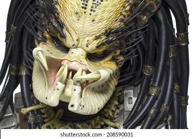 Istanbul, Turkey - August 01, 2014: Isolated studio shot of the Predator character.
