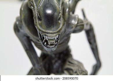 Istanbul, Turkey - August 01, 2014: Isolated studio shot of the Alien character.