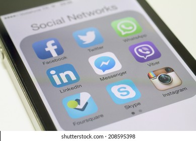 Istanbul, Turkey - August 01, 2014: Social networks, Facebook, Twitter, LinkedIn, Instagram, Skype and others on a smart phone