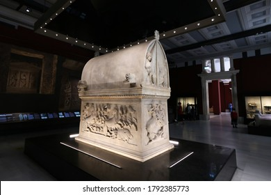 ISTANBUL, TURKEY - AUGUST 01, 2020: Lycian sarcophagus of Sidon in Istanbul Archaeological Museums