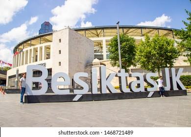 ISTANBUL, TURKEY - AUGUST 02, 2019: BESIKTAS VODAFONE PARK STADIUM. The stadium is the home of Besiktas JK Football Club. Besiktas JK is Turkish football club in Istanbul. Turkey.