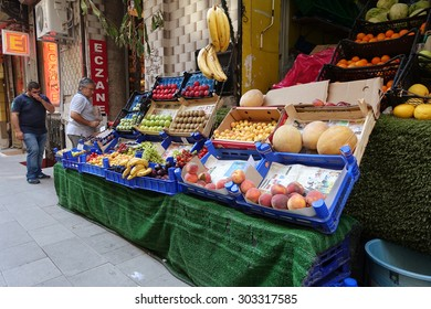 ISTANBUL, TURKEY AUGUST 03, 2015:Fruit and vegetable store in Galata District