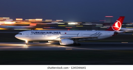 ISTANBUL, TURKEY - AUGUST 05, 2018: Turkish Airlines Airbus A330-343E (CN 1483) takes off from Istanbul Ataturk Airport. THY is the flag carrier of Turkey with 338 fleet size and 300 destinations