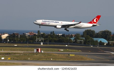 ISTANBUL, TURKEY - AUGUST 05, 2018: Turkish Airlines Airbus A330-303 (CN 1696) landing to Istanbul Ataturk Airport. THY is the flag carrier of Turkey with 338 fleet size and 300 destinations