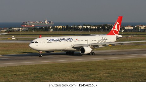 ISTANBUL, TURKEY - AUGUST 05, 2018: Turkish Airlines Airbus A330-303 (CN 1644) takes off from Istanbul Ataturk Airport. THY is the flag carrier of Turkey with 338 fleet size and 300 destinations