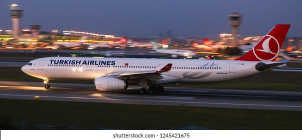ISTANBUL, TURKEY - AUGUST 05, 2018: Turkish Airlines Airbus A330-343X (CN 1228) takes off from Istanbul Ataturk Airport. THY is the flag carrier of Turkey with 338 fleet size and 300 destinations