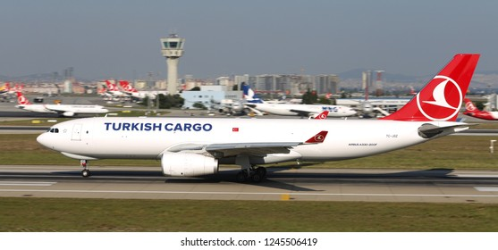 ISTANBUL, TURKEY - AUGUST 05, 2018: Turkish Cargo Airbus A330-243F (CN 1768) takes off from Istanbul Ataturk Airport. THY is the flag carrier of Turkey with 338 fleet size and 300 destinations