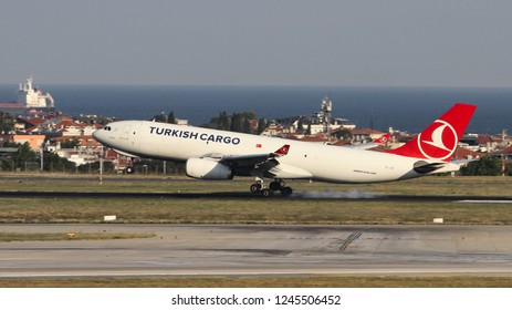 ISTANBUL, TURKEY - AUGUST 05, 2018: Turkish Cargo Airbus A330-243F (CN 1442) landing to Istanbul Ataturk Airport. THY is the flag carrier of Turkey with 338 fleet size and 300 destinations
