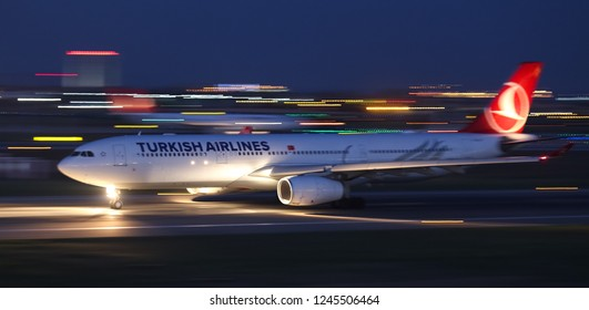 ISTANBUL, TURKEY - AUGUST 05, 2018: Turkish Airlines Airbus A330-343 (CN 1635) takes off from Istanbul Ataturk Airport. THY is the flag carrier of Turkey with 338 fleet size and 300 destinations