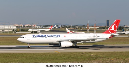 ISTANBUL, TURKEY - AUGUST 05, 2018: Turkish Airlines Airbus A330-343E (CN 1542) takes off from Istanbul Ataturk Airport. THY is the flag carrier of Turkey with 338 fleet size and 300 destinations