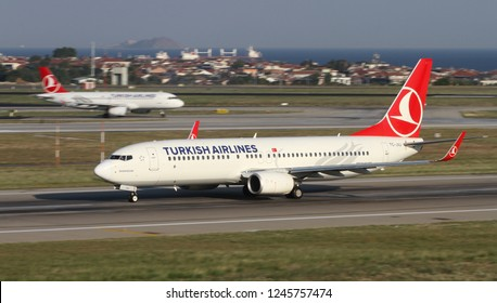 ISTANBUL, TURKEY - AUGUST 05, 2018: Turkish Airlines Boeing 737-8F2 (CN 60015) takes off from Istanbul Ataturk Airport. THY is the flag carrier of Turkey with 338 fleet size and 300 destinations