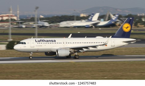 ISTANBUL, TURKEY - AUGUST 05, 2018: Lufthansa Airbus A320-214 (CN 6636) takes off from Istanbul Ataturk Airport. Lufthansa has 283 fleet size and 220 destinations
