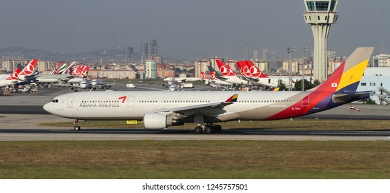 ISTANBUL, TURKEY - AUGUST 05, 2018: Asiana Airlines Airbus A330-323E (CN 1151) takes off from Istanbul Ataturk Airport. Asiana Airlines has 82 fleet size and 90 destinations