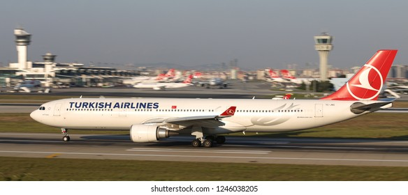 ISTANBUL, TURKEY - AUGUST 05, 2018: Turkish Airlines Airbus A330-303 (CN 1458) takes off from Istanbul Ataturk Airport. THY is the flag carrier of Turkey with 338 fleet size and 300 destinations