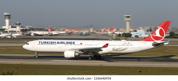 ISTANBUL, TURKEY - AUGUST 05, 2018: Turkish Airlines Airbus A330-303 (CN 1622) takes off from Istanbul Ataturk Airport. THY is the flag carrier of Turkey with 338 fleet size and 300 destinations