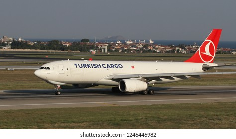 ISTANBUL, TURKEY - AUGUST 05, 2018: Turkish Cargo Airbus A330-243F (CN 1344) takes off from Istanbul Ataturk Airport. THY is the flag carrier of Turkey with 338 fleet size and 300 destinations