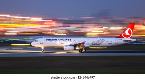 ISTANBUL, TURKEY - AUGUST 05, 2018: Turkish Airlines Airbus A321-231 (CN 2919) takes off from Istanbul Ataturk Airport. THY is the flag carrier of Turkey with 338 fleet size and 300 destinations