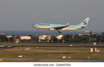 ISTANBUL, TURKEY - AUGUST 05, 2018: Korean Air Airbus A330-223 (CN 1393) takes off from Istanbul Ataturk Airport. Korean Air has 174 fleet size and 127 destinations