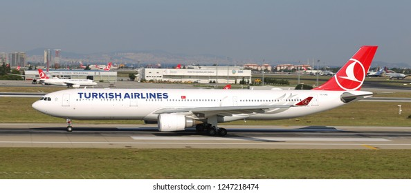 ISTANBUL, TURKEY - AUGUST 05, 2018: Turkish Airlines Airbus A330-303 (CN 1718) takes off from Istanbul Ataturk Airport. THY is the flag carrier of Turkey with 338 fleet size and 300 destinations