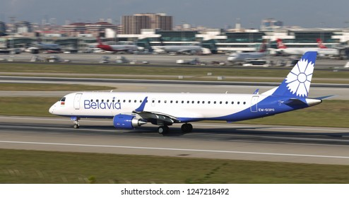 ISTANBUL, TURKEY - AUGUST 05, 2018: Belavia Belarusian Airlines Embraer 195LR (CN 754) takes off from Istanbul Ataturk Airport. Belavia has 26 fleet size and 52 destinations