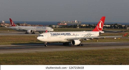 ISTANBUL, TURKEY - AUGUST 05, 2018: Turkish Airlines Airbus A330-203 (CN 704) takes off from Istanbul Ataturk Airport. THY is the flag carrier of Turkey with 338 fleet size and 300 destinations