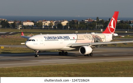 ISTANBUL, TURKEY - AUGUST 05, 2018: Turkish Airlines Airbus A330-303 (CN 1620) takes off from Istanbul Ataturk Airport. THY is the flag carrier of Turkey with 338 fleet size and 300 destinations