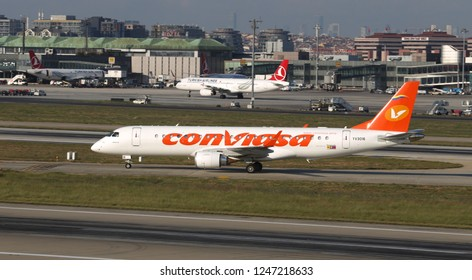 ISTANBUL, TURKEY - AUGUST 05, 2018: ConViasa Embraer 190BJ (CN 177) takes off from Istanbul Ataturk Airport. ConViasa has 8 fleet size and 15 destinations