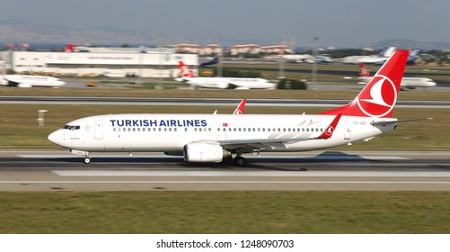 ISTANBUL, TURKEY - AUGUST 05, 2018: Turkish Airlines Boeing 737-8F2 (CN 34418) takes off from Istanbul Ataturk Airport. THY is the flag carrier of Turkey with 338 fleet size and 300 destinations
