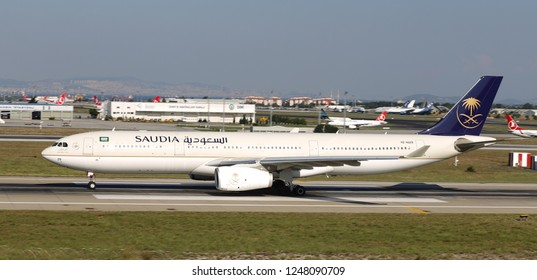 ISTANBUL, TURKEY - AUGUST 05, 2018: Saudi Arabian Airlines Airbus A330-343E (CN 1812) takes off from Istanbul Ataturk Airport. Saudia has 185 fleet size and 89 destinations