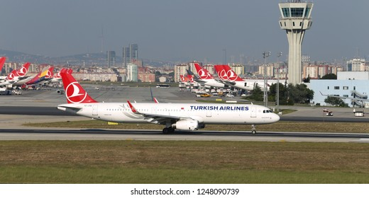 ISTANBUL, TURKEY - AUGUST 05, 2018: Turkish Airlines Airbus A321-231 (CN 7518) takes off from Istanbul Ataturk Airport. THY is the flag carrier of Turkey with 338 fleet size and 300 destinations