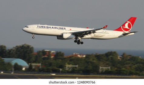 ISTANBUL, TURKEY - AUGUST 05, 2018: Turkish Airlines Airbus A330-343E (CN 1483) landing to Istanbul Ataturk Airport. THY is the flag carrier of Turkey with 338 fleet size and 300 destinations