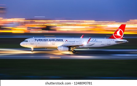 ISTANBUL, TURKEY - AUGUST 05, 2018: Turkish Airlines Airbus A321-231 (CN 5546) takes off from Istanbul Ataturk Airport. THY is the flag carrier of Turkey with 338 fleet size and 300 destinations