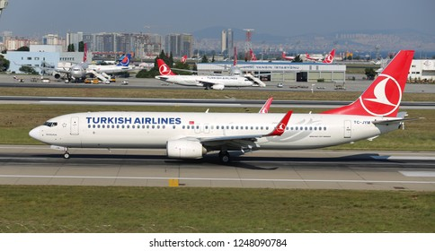 ISTANBUL, TURKEY - AUGUST 05, 2018: Turkish Airlines Boeing 737-9F2ER (CN 42011) takes off from Istanbul Ataturk Airport. THY is the flag carrier of Turkey with 338 fleet size and 300 destinations