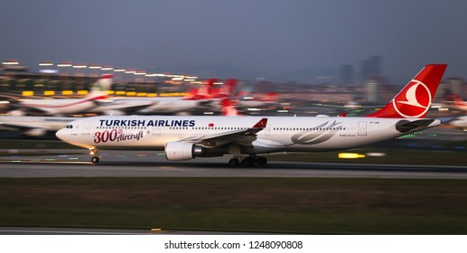 ISTANBUL, TURKEY - AUGUST 05, 2018: Turkish Airlines Airbus A330-303 (CN 1696) takes off from Istanbul Ataturk Airport. THY is the flag carrier of Turkey with 338 fleet size and 300 destinations