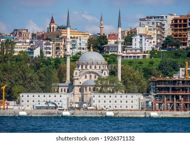 ISTANBUL, TURKEY - AUGUST 06, 2019: This is Nusretiye Mosque on the bank of the Bosphorus, which was built in the early 19th century in the style of the Ottoman Baroque.