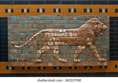 ISTANBUL, TURKEY - AUGUST 07, 2015: Istanbul Archaeological Museum - A lion from Ishtar Gate of Babylon.  The Ishtar Gate was built by King Nebuchadnezzar II in about 575 BC.