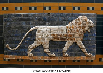 ISTANBUL, TURKEY - AUGUST 07, 2015: Istanbul Archaeological Museum : A lion from Ishtar Gate of Babylon.  The Ishtar Gate was built by King Nebuchadnezzar II in about 575 BC.